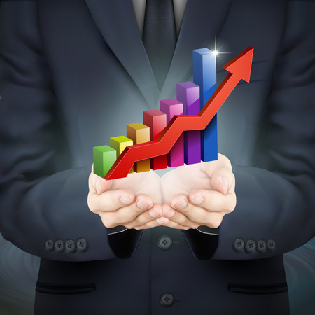 look up: close-up look at businessman holding bar graph with rising arrow
