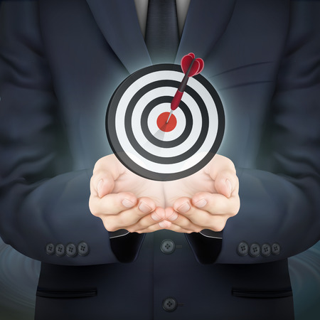 starting: close-up look at businessman holding target icon Illustration
