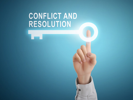 male hand pressing conflict and resolution key button over blue abstract background Ilustracja
