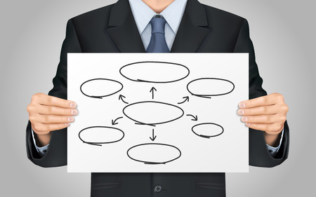 disperse: close-up look at businessman holding empty diagram