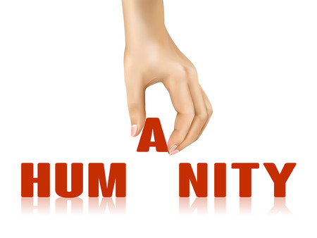 affability: humanity word taken away by hand over white background