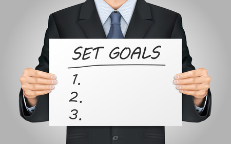 set goals: close-up look at businessman holding set goals poster Illustration