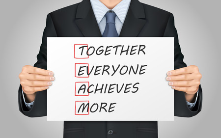 achieves: close-up look at businessman holding Together Everyone Achieves More poster Illustration