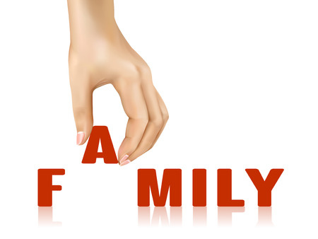 fondo blanco: palabra familiar llevado por la mano sobre fondo blanco