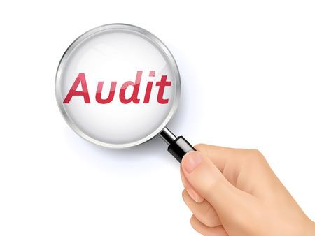 audit showing through magnifying glass held by hand Ilustração