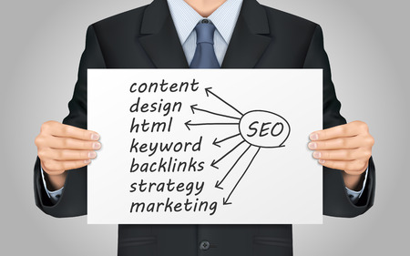 backlink: close-up look at businessman holding SEO concept poster
