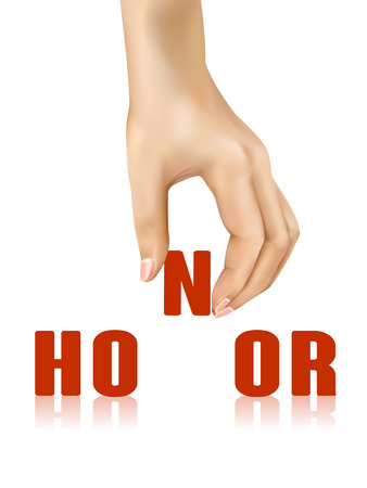 compliment: honor word taken away by hand over white background