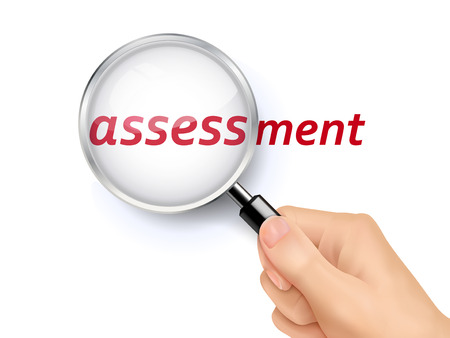 identify: assessment showing through magnifying glass held by hand