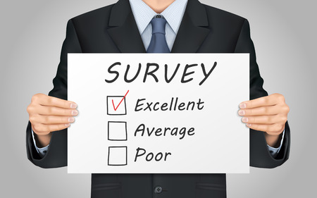 satisfactory: close-up look at businessman holding quality survey poster Illustration