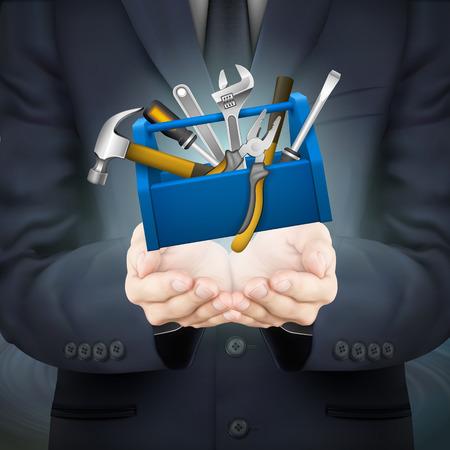 tool: Close-up Blick auf Geschäftsmann hält Werkzeuge Feld