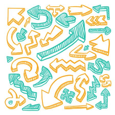 사랑스러운 낙서 스타일 손으로 그린 화살표에 격리 된 흰색 배경을 설정합니다.