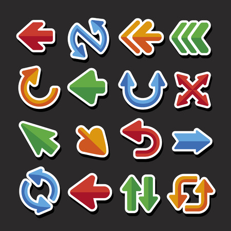 orientation marker: lovely colorful arrows set button isolated on black background Illustration
