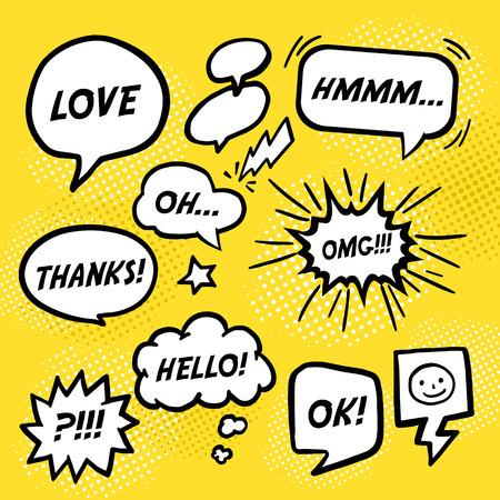 simplicity comic speech bubbles set over yellow background Vectores