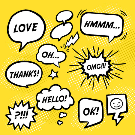 simplicity comic speech bubbles set over yellow background Ilustração