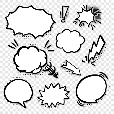comic blank speech bubbles set in black line Stock Vector - 42808504