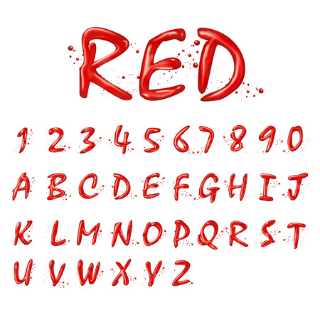 collection red: liquid red alphabets and numbers collection isolated on white background Illustration