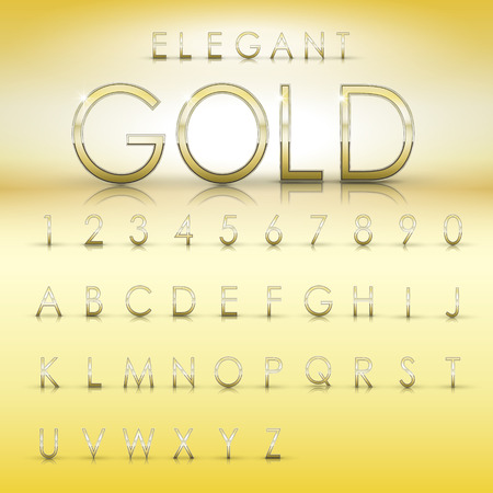 elegant gold alphabets and numbers collection isolated on yellow background