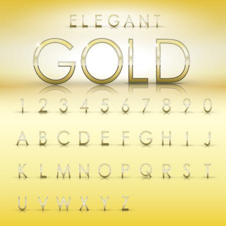 fondo elegante: elegante alfabetos y números de colección de oro aislado en el fondo amarillo