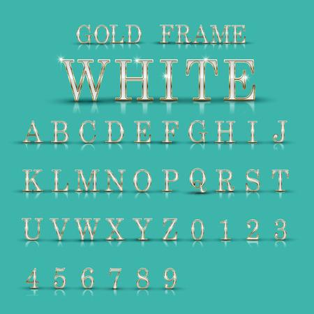 elegant white: elegant white alphabets and numbers collection isolated on turquoise background Illustration