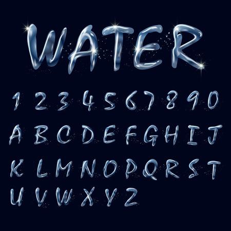 Alfabetos y números de recogida de agua pura aislado en el fondo negro Foto de archivo - 42808547