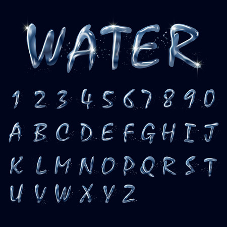 pure water alphabets and numbers collection isolated on black background
