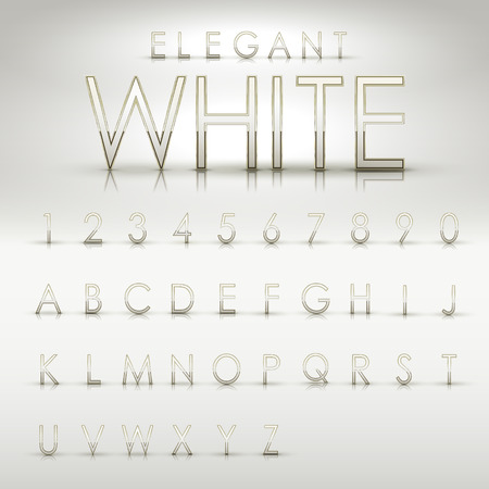 pearl: elegant white alphabets and numbers collection isolated on peril white background Illustration