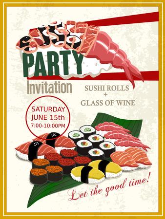 delicious sushi party invitation poster design template Illustration