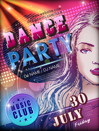 modern  dance: modern dance party poster design with attractive woman