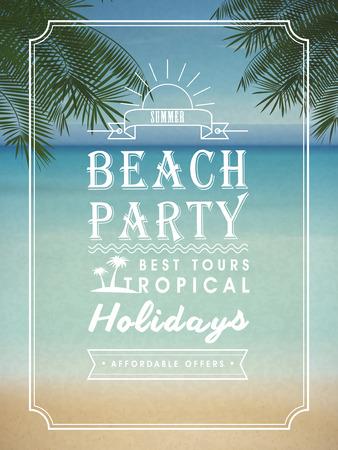 beach sunset: modern summer beach party poster design template