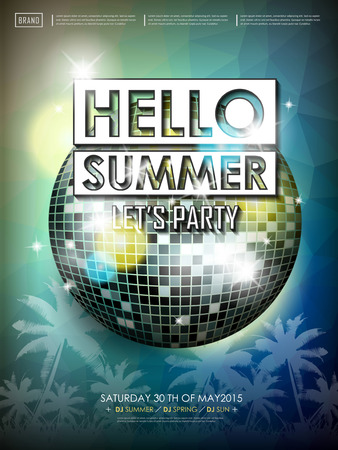 beach ball: modern summer beach party poster design with mirror ball elements Illustration