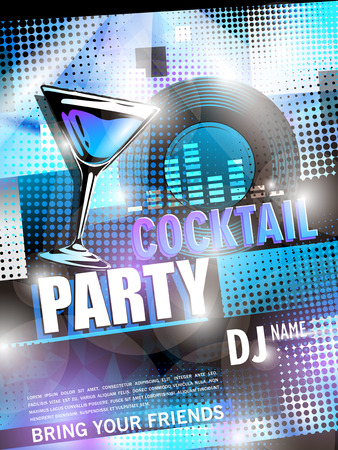 party decoration: fantastic cocktail party poster design with abstract background