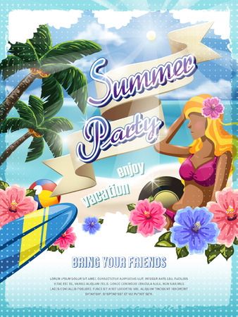 summer beach party: attractive summer beach party poster design template Illustration