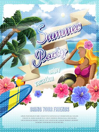 beach: attraente estate modello di progettazione partito manifesto Vettoriali