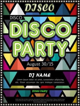 Moderne Disco-Party Plakatgestaltung mit bunten Dreieckselemente Standard-Bild - 42808894