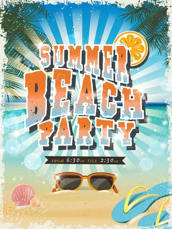 retro summer beach party poster design template