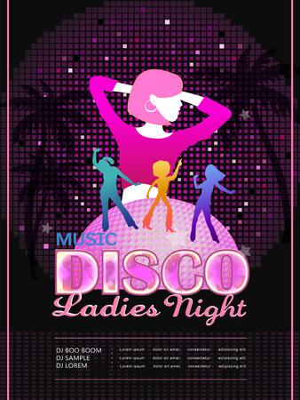 gente bailando: atractivo diseño del cartel fiesta disco con la gente baile silueta Vectores
