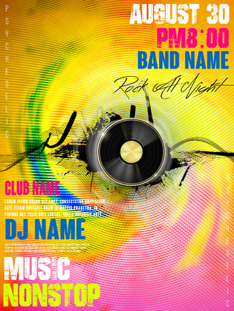 poster designs: gorgeous music party poster design with vinyl records elements Illustration