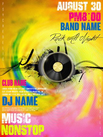 prachtige muziek partij poster ontwerp met vinylplaten elementen Stock Illustratie