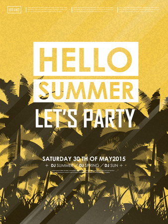simplicity summer beach party poster design in yellow