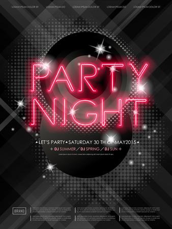 네온 빛의 요소와 매력적인 파티 밤 포스터 디자인