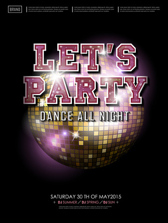 mirror ball: gorgeous dance party poster design with mirror ball elements