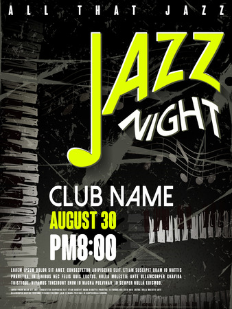 jazz dance: elegant jazz night poster design with note and piano elements