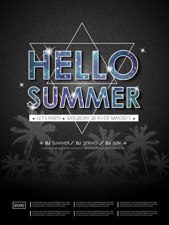 disco: modern summer beach party poster design template