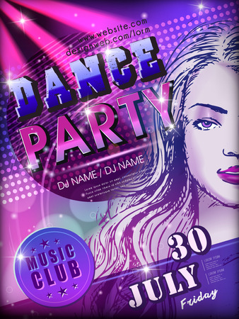 modern dance party poster design with attractive woman