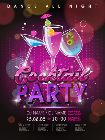 dj party: fantastic cocktail party poster design with abstract background
