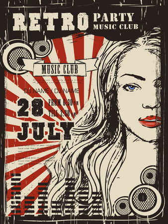 retro party: retro music party poster design with attractive woman Illustration