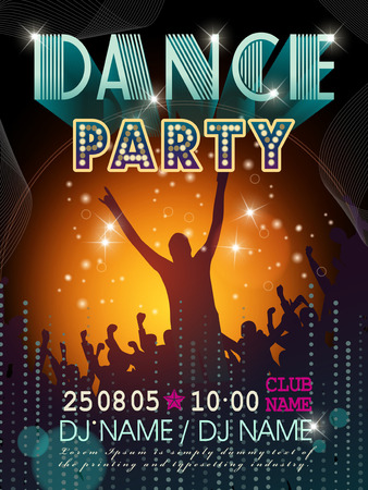 modern  dance: modern dance party poster design with silhouette style background Illustration
