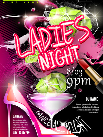 ladies: mystery ladies night party poster design with glitter elements