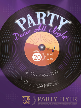 night club: elegant music party poster design with vinyl records elements