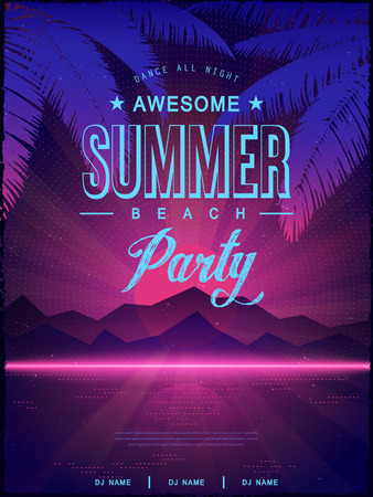 disco: awesome summer beach party poster design template Illustration